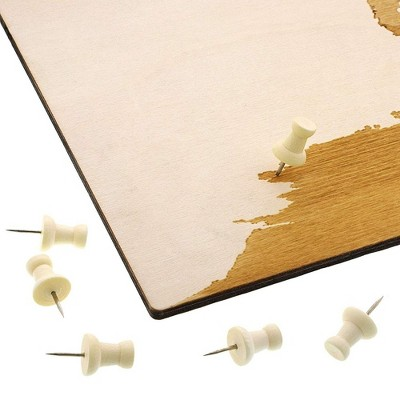 Bright Creations World Wood Travel Map for Wall Decor with 100 Push Pins, 16.5 x 11.5 in