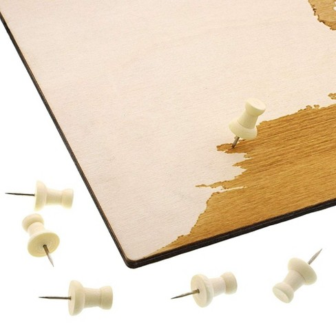 Bright Creations World Wood Travel Map for Wall Decor with 100 Push Pins, 16.5 x 11.5 in - image 1 of 3