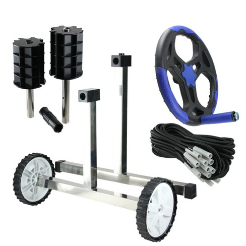 """Pool Central Reel System with Stainless Steel Frame for 3'' Tubes for In-Ground Pool Covers 21"""" - Black/Gray - image 1 of 3"""