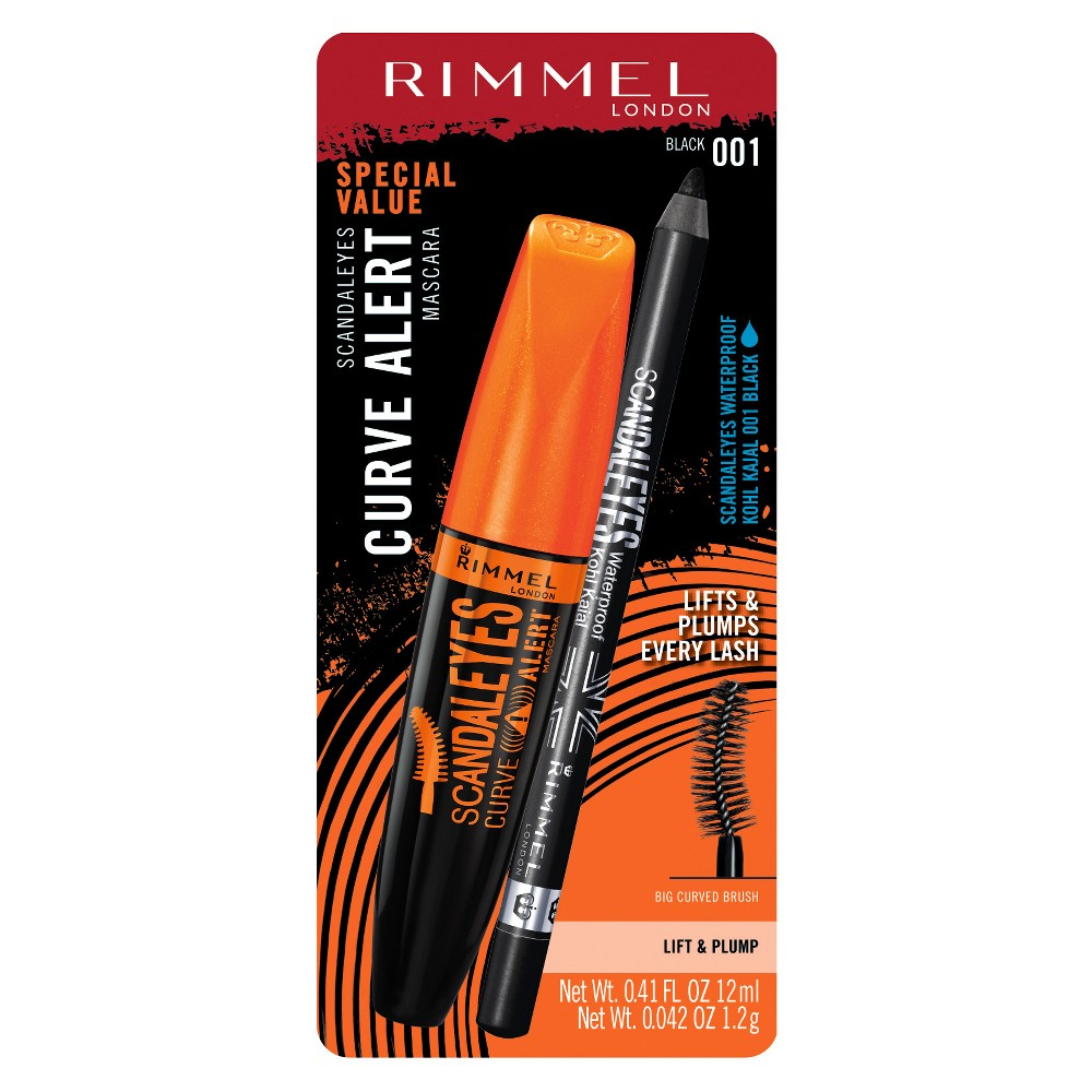 Rimmel ScandalEyes Curve Alert Mascara with Waterproof Kohl Kajal Liner - Black Scandalyes Special Value Pack!Scandaleyes Curve Alert Mascara:Lifts and plumps every lash. Deny-Gravity brush covers the entire lash line to capture, lift and plump every lash. Supersize formula with collagen and keratin.Up to 12x more volume and up to 70 percent more lift**Versus natural lashesScandaleyes Waterproof Kohl Kajal Eye Liner:High intensity pigment for instant color impact.Ultra smooth and creamy formula glides on easilySmudge-proof, Waterproof and…Scandal-proof! Color: Black.