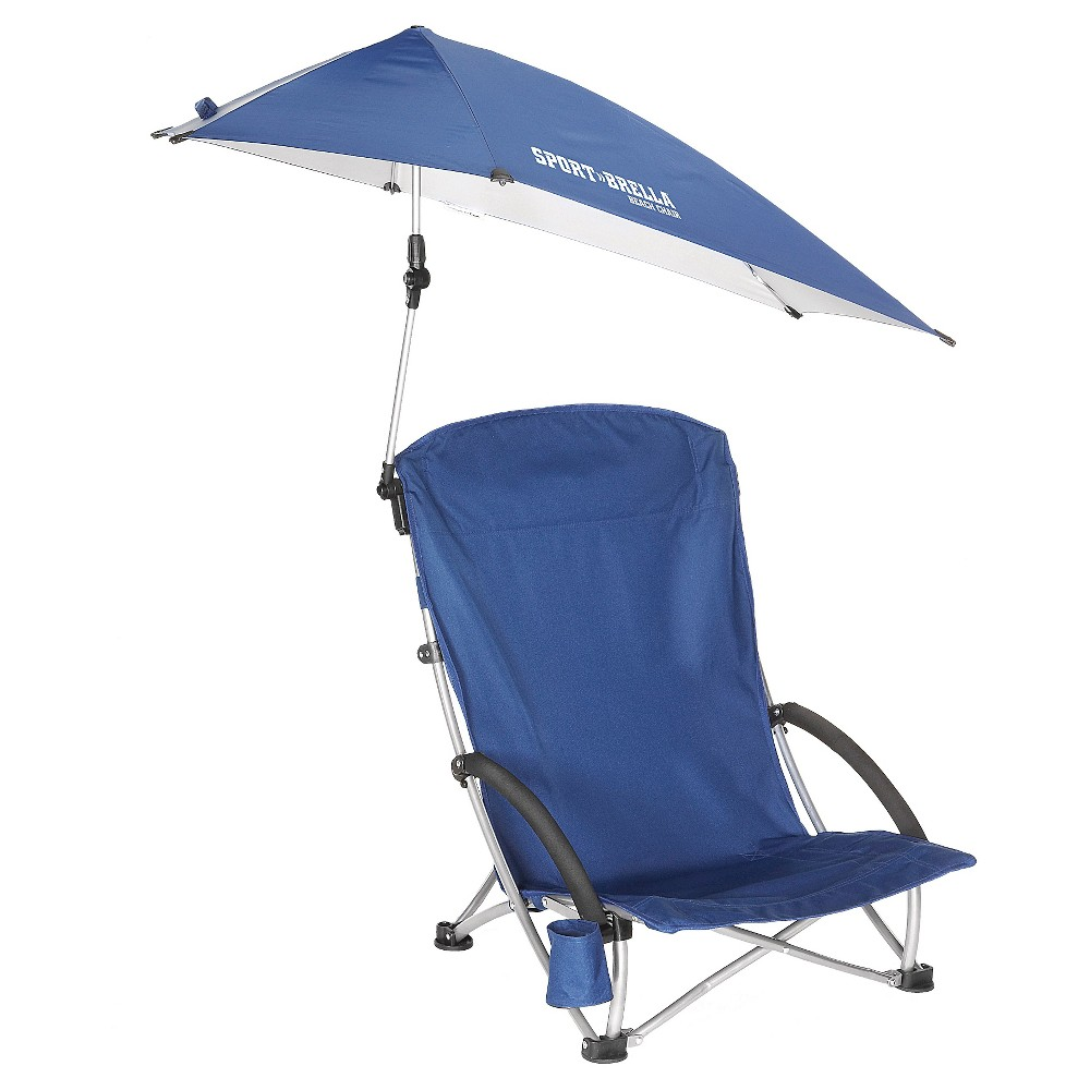 Sport-Brella Beach Chair - Portable Umbrella Chair -Navy Sport-Brella Beach ChairRelax in style at the beach- while also staying protected. This low-profile chair with adjustable overhead umbrella features an extra-high back and foam armrests for maximum comfort. No matter the time of day, or the angle of the sun, stay cool, comfortable and protected.