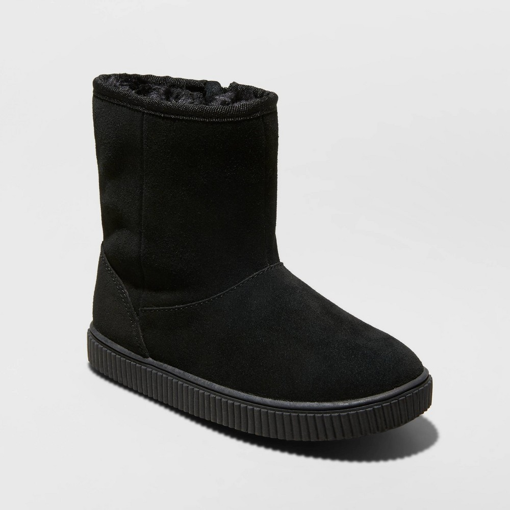 Image of Girls' Eunice Genuine Suede Shearling Boots - Cat & Jack Black 1