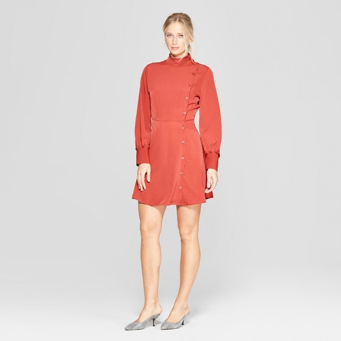 Women's Long Sleeve Mock Neck Button Detail Mini Dress - Who What Wear™ - image 1 of 3