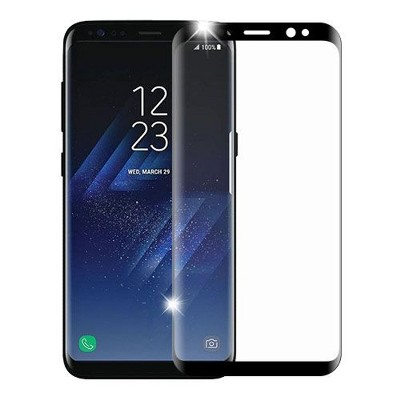 Valor Clear Tempered Glass Screen Protector LCD Film Guard Shield for Samsung Galaxy S8, Black