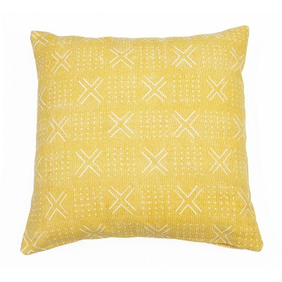 """20""""x20"""" Max Mudcloth Woven Pillow Yellow - Décor Therapy"""