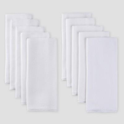 Gerber Baby Organic Cotton 10pk Flatfold Birdseye Diaper - White One Size