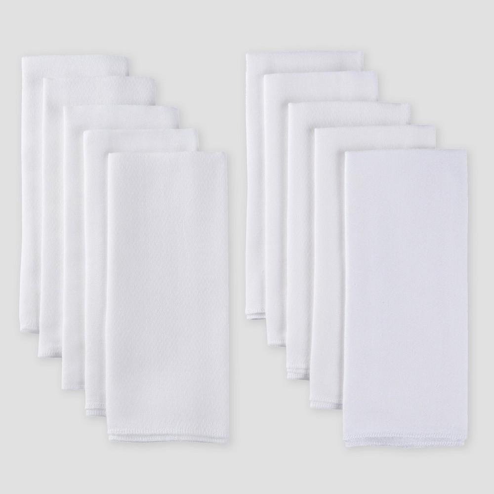 Image of Gerber Baby Organic Cotton 10pk Flatfold Birdseye Diaper - White One Size