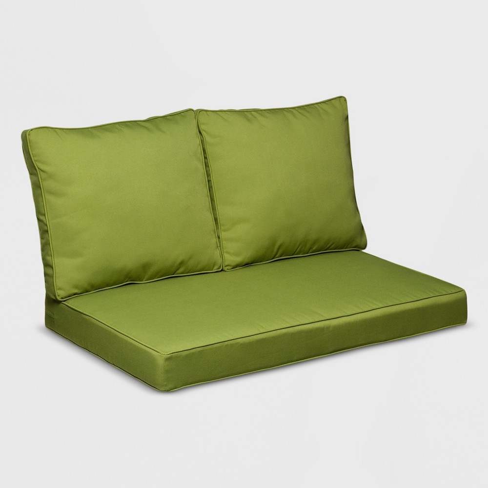 Image of Belmont 3pc Wicker Loveseat Replacement Cushion Set Green - Grand Basket