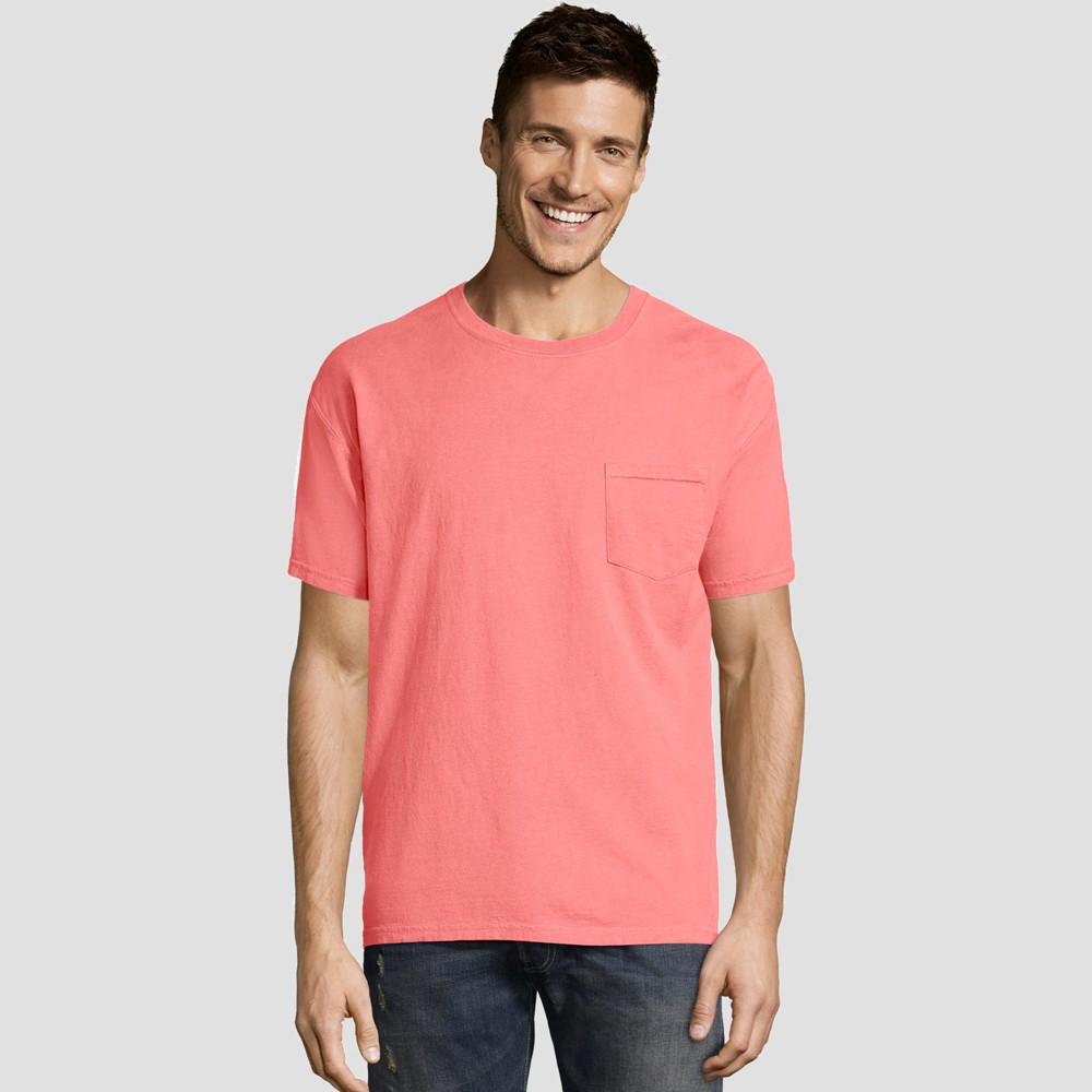 Hanes Men's Short Sleeve 1901 Garment Dyed Pocket T-Shirt - Coral (Pink) M