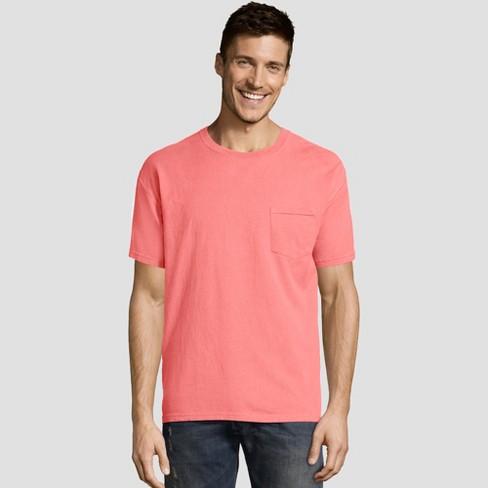 d953f4fb00bb Hanes Men's Big & Tall Short Sleeve 1901 Garment Dyed Pocket T-Shirt -  Coral 3XL : Target