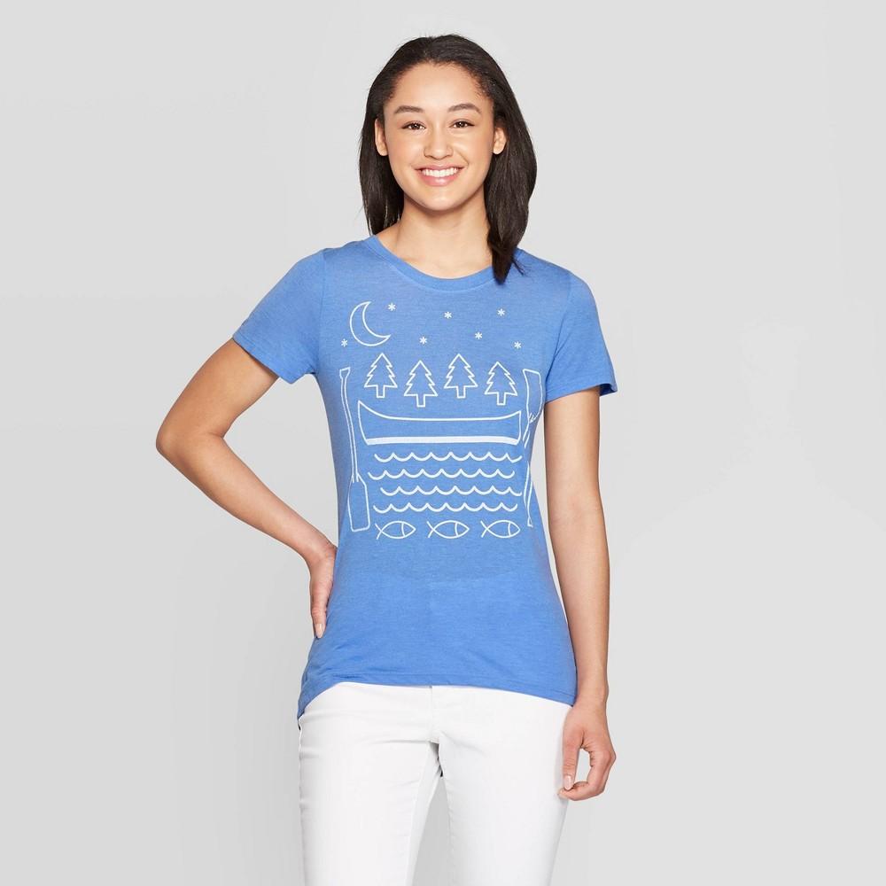 Women's Short Sleeve Scoop Neck Summer Nights T-Shirt - Awake Blue S