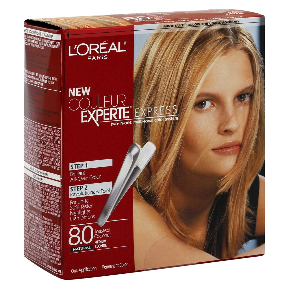 Image of L'Oreal Paris Couleur Experte All Over Color and Highlights - 8.0 Toasted Coconut - 1 Kit, 8.0 Toasted White