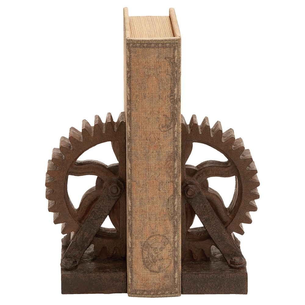 "Image of ""7"""" x 3"""" 2pc Gear Wheel Bookend Set Brown - Olivia & May"""