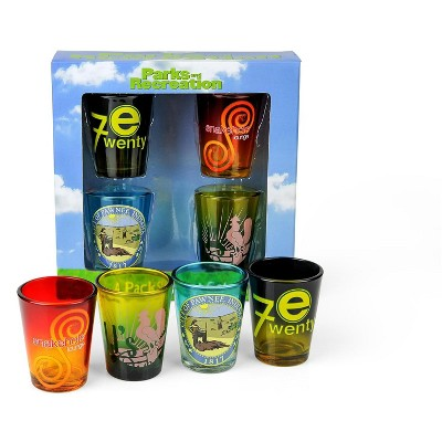 Surreal Entertainment Parks and Recreation Location Logos 4 Piece Shot Glass Set