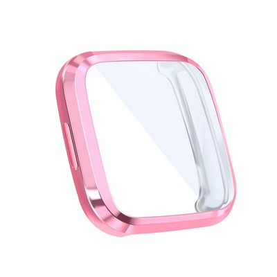 Insten Screen Protector with Soft TPU Rubber Protective Case Bumper Compatible with Fitbit Versa 2, Clear/Pink