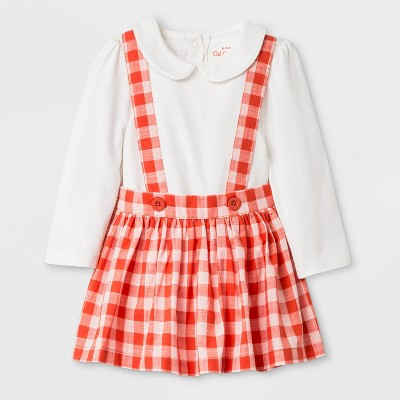 Baby Girls' Top and Bottom Set - Cat & Jack™ Cream/Red 0-3M