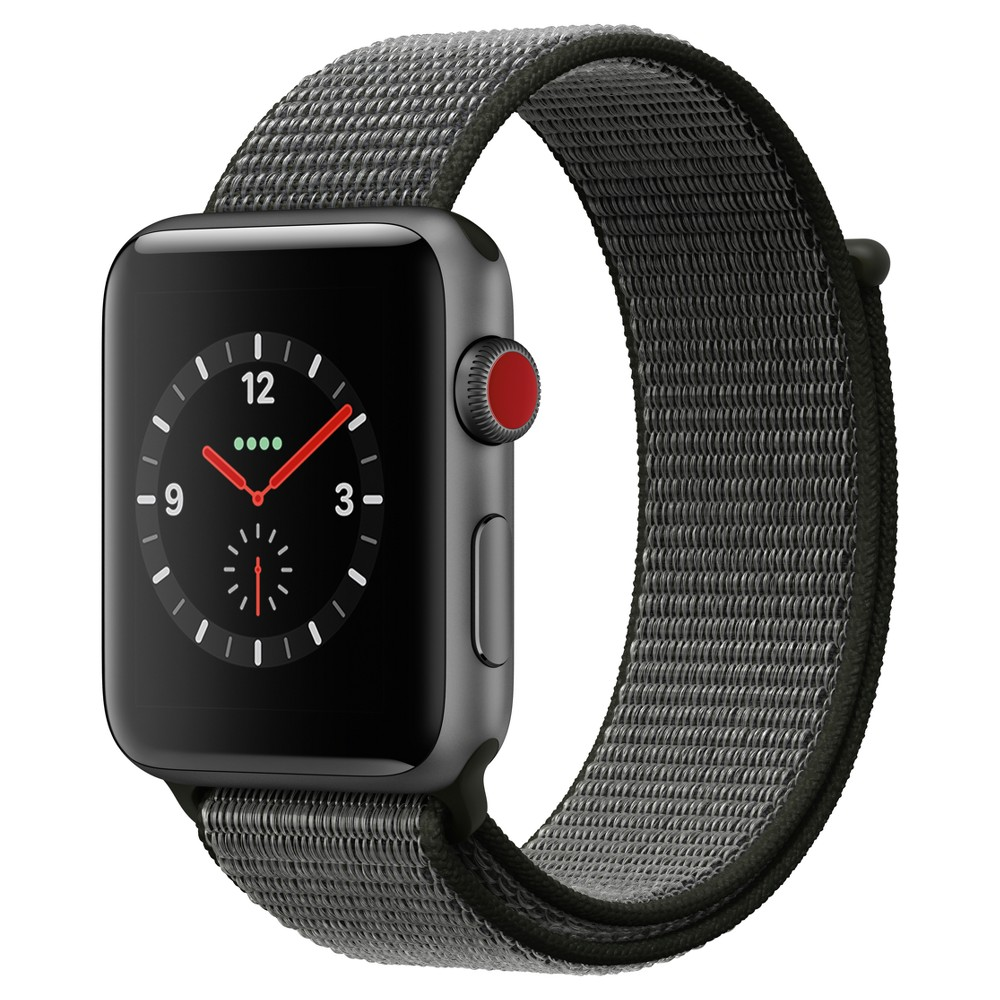 Apple Watch Series 3 42mm (Gps + Cellular) Aluminum Case Nylon Sport Loop Band - Dark Olive Answer a call from your surfboard. Ask Siri to send a message. Stream your favorite songs on your run. And do it all while leaving your phone behind. Introducing Apple Watch Series 3 with cellular. Now you have the freedom to go with just your watch. Color: Dark Olive. Material: Nylon.