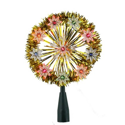 """Northlight 7"""" Pre-Lit Silver Snowflake Starburst Christmas Tree Topper - Clear Lights"""
