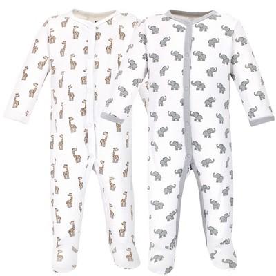 Hudson Baby Baby Cotton Snap Sleep and Play 2pk, Elephant Giraffe