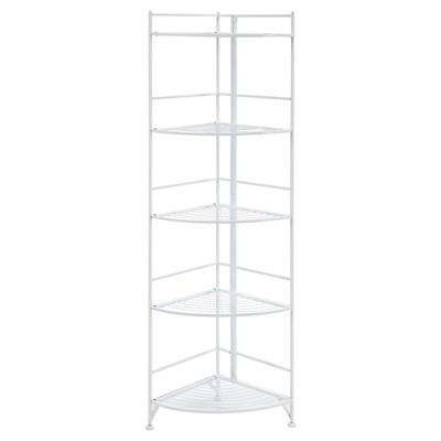 "58"" 5 Tier Folding Metal Corner Shelf White - Breighton Home"