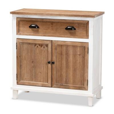 Glynn Wood 2 Door Storage Cabinet White/Brown - Baxton Studio