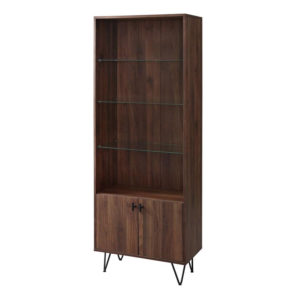 68 Mid Century Modern Storage Cabinet Dark Walnut - Saracina Home