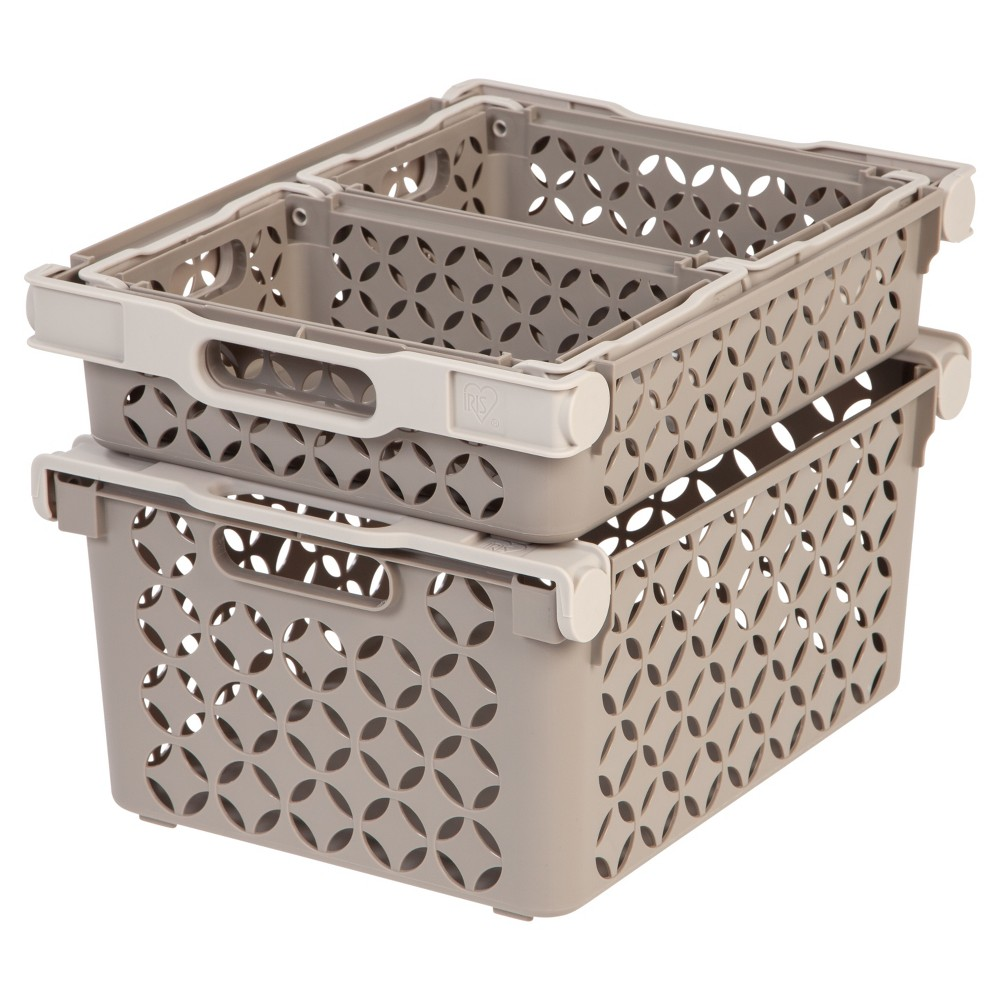 Iris Decorative Plastic Storage Basket Combo, Tan