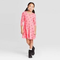 Girls' Long Sleeve Hearts Knit Dress - Cat & Jack™ Coral