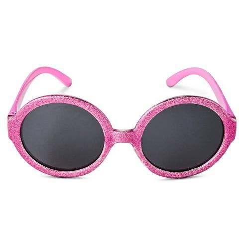 Girls\' Glitter Frame Round Sunglasses - Pink