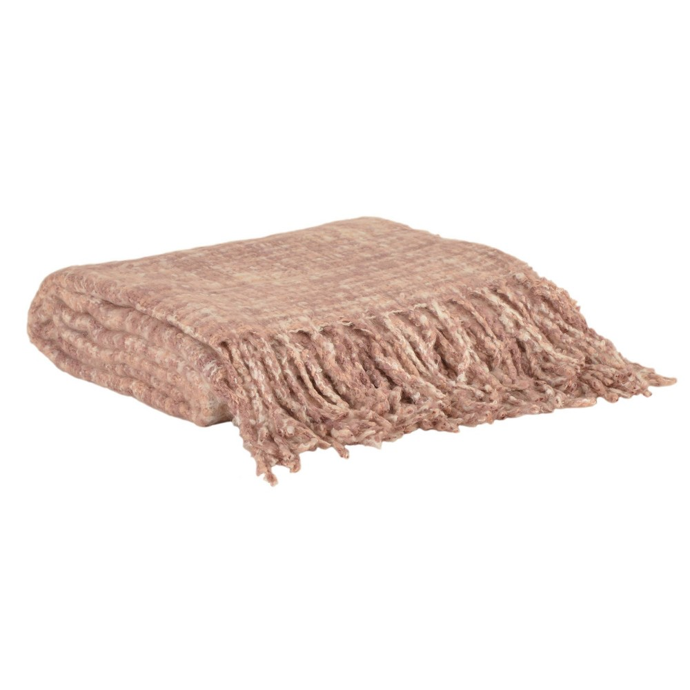 Cerin Mohair Fringe Throw Blanket Pink - Décor Therapy