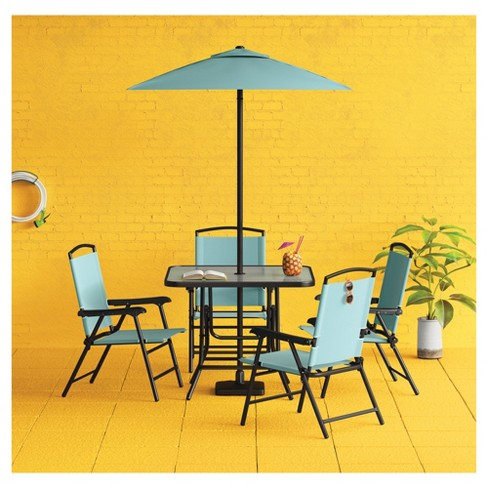 7pc Metal Folding Patio Dining Set Turquoise Threshold Target