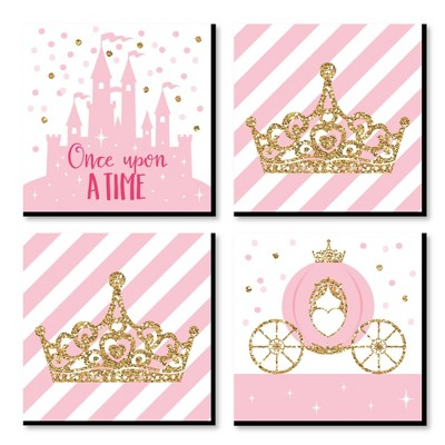 Big Dot of Happiness Little Princess Crown - Kids Room, Nursery Decor & Home Decor - 11 x 11 inches Nursery Wall Art - Set of 4 Prints for baby's room