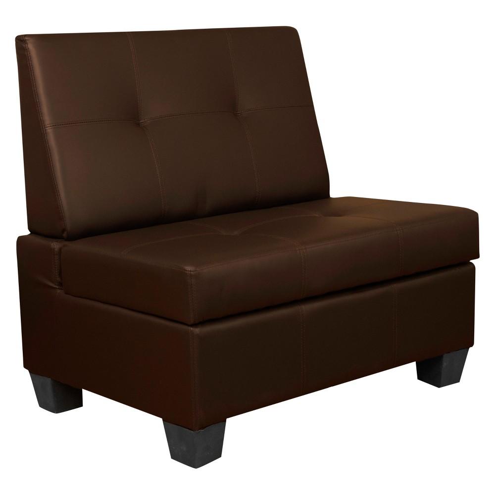 Valet Tufted Padded Hinged Storage Chair Leather Look Brown 36 Wide - Sit N Sleep, Java Brown