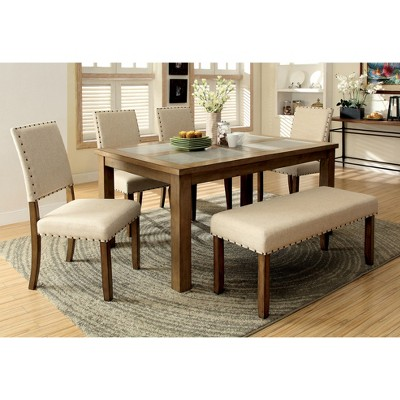 Charmant Sun U0026 Pine Nail Head Trim Fabric Padded Dining Bench Wood/Natural Tone :  Target
