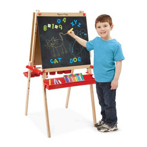 Melissa & Doug® Deluxe Magnetic Standing Art Easel With Chalkboard, Dry-Erase Board, and 39 Letter and Number Magnets - image 1 of 4