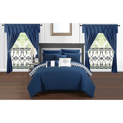 King 20pc Liron Bed In A Bag Comforter Set Navy - Chic Home Design