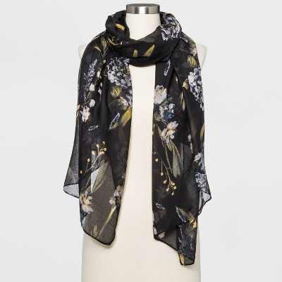 Women's Floral Print Scarf - A New Day™ Black