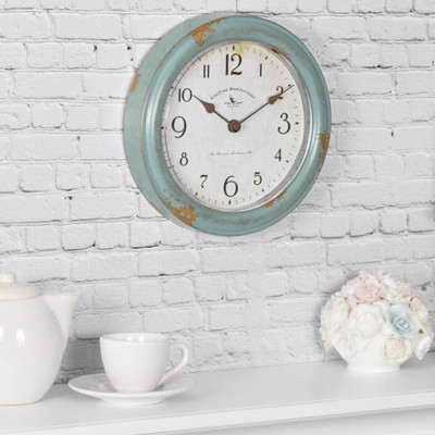 8.5  Teal Patina Wall Clock Turquoise - FirsTime