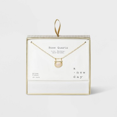 Silver Plated Bar Necklace - A New Day™