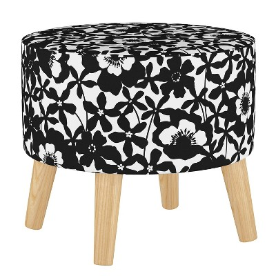 Round Ottoman with Splayed Legs Shadow Poppy Black - Skyline Furniture