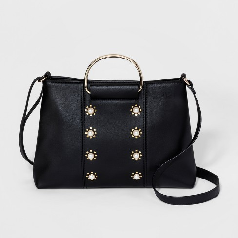 Women s Small Ring Satchel Handbag - T-Shirt   Jeans Black   Target ee651ddcb