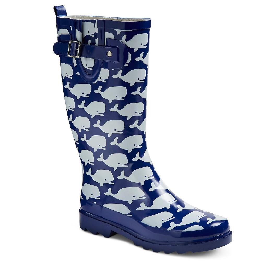 Women's Western Chief Whale Print Rain Boots - Navy 7, Blue