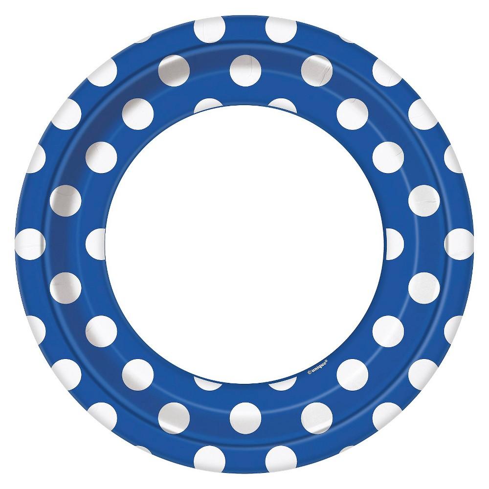 8ct Blue & White Polka Dot Dinner Plate