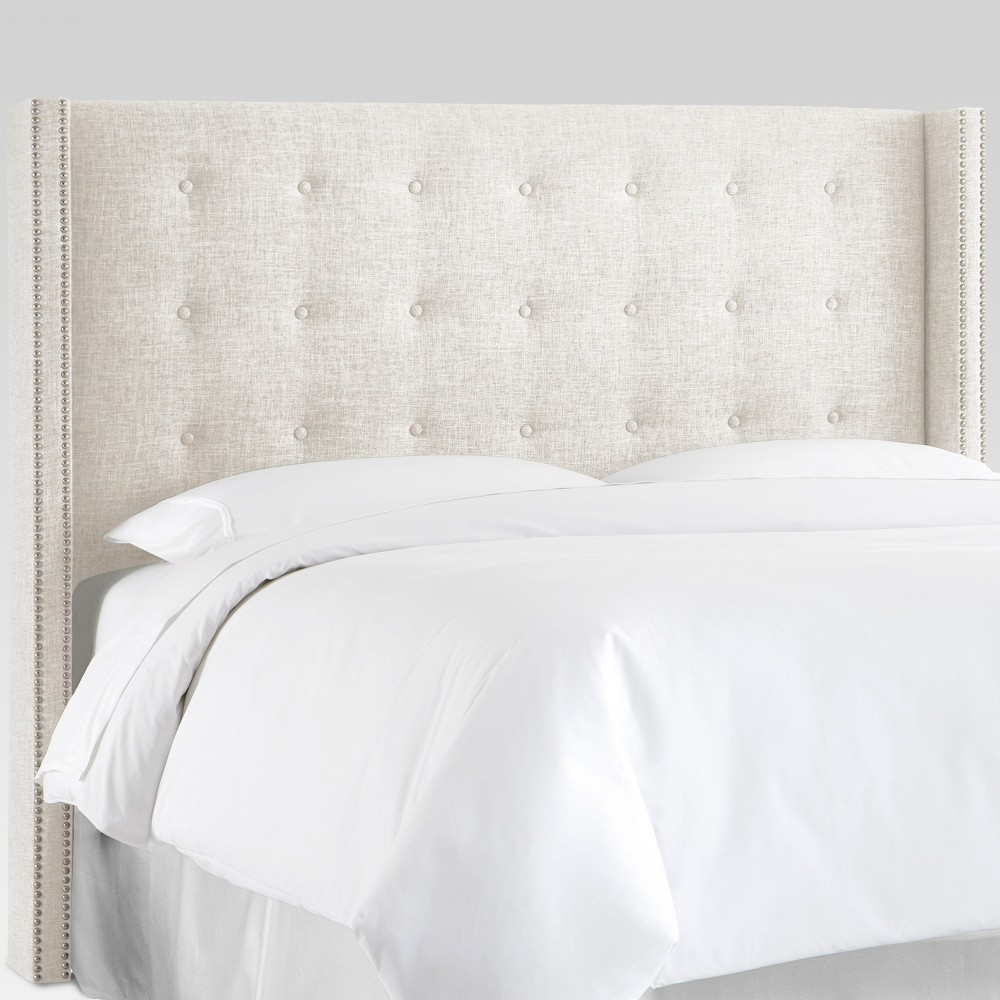 Nail Button Tufted Wingback Headboard (Full) White - Threshold Promos