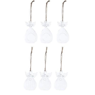 Juvale 6-Pack Angel Design Hanging Glass Orbs Terrarium Holder Christmas Tea light Candles