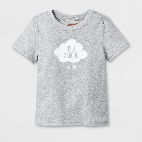 "Toddler Short Sleeve ""New School"" Graphic T-Shirt - Cat & Jack™ Gray - image 1 of 2"