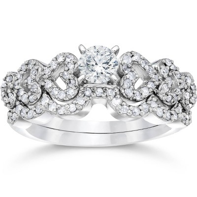 Pompeii3 3/4ct Heart Shape Diamond Engagement Ring Set 14K White Gold