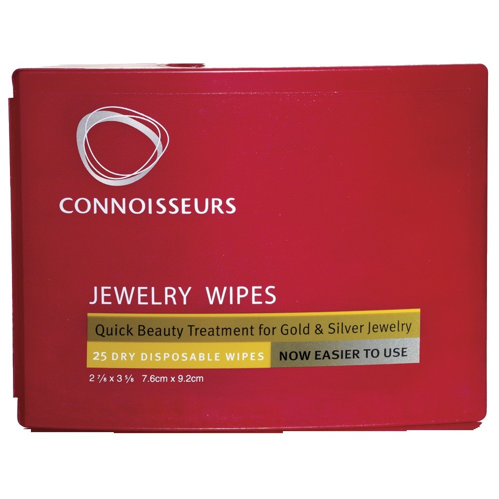 Connoisseurs Jewelry Wipe Compact 25 Wipes - Connoisseurs Jewelry Wipes are conveniently packaged in an easy-to-open compact. Our Jewelry Wipes make it easy to clean gold and silver jewelry anywhere, anytime. Connoisseurs Jewelry Wipes contain an anti-tarnish shield to help your jewelry retain its luster. Color: red. Age Group: adult.