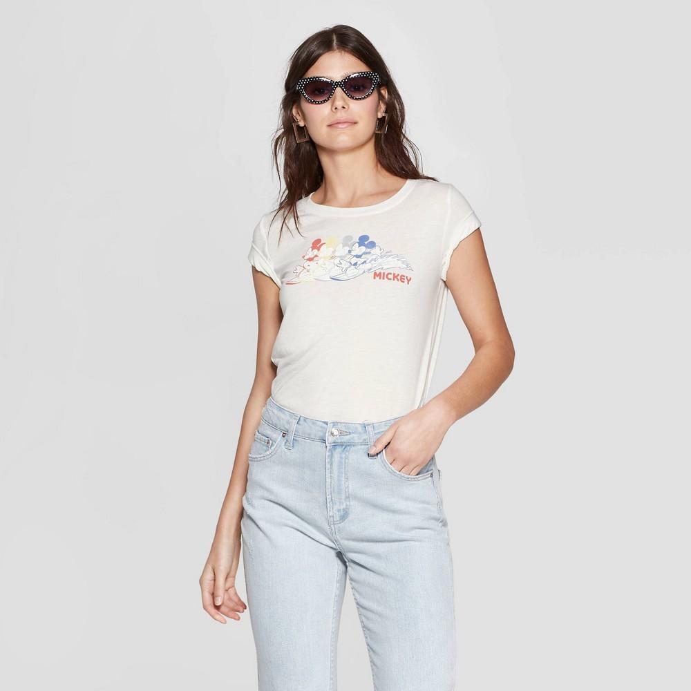 Women's Mickey Mouse Short Sleeve Crewneck Graphic T-Shirt - Awake White XL