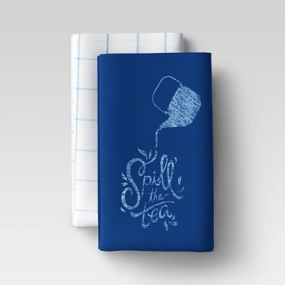 2pk Cotton Spill The Tea Kitchen Towels Blue - Room Essentials™